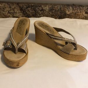 Sbicca snake skin print wedge sandals